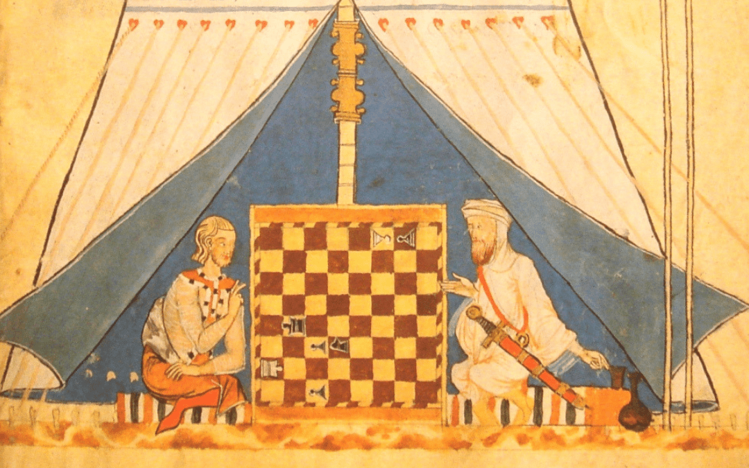 Muslim and Christian playing chess